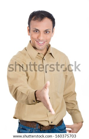 Closeup portrait of a handsome casual young, smiling guy extending hand for handshake, isolated on white background. Business communication, positive human emotions and facial expressions - stock photo