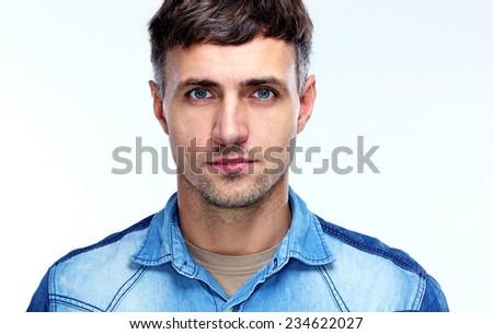 Closeup portrait of a handsome man - stock photo