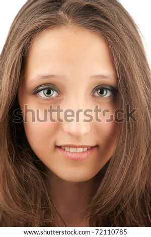 Closeup portrait of a happy beautiful young girl - stock photo