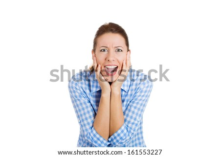 Closeup portrait of a happy cute young beautiful woman looking excited and surprised in full disbelief, isolated on a white background with copy space. Positive human emotions and facial expressions. - stock photo