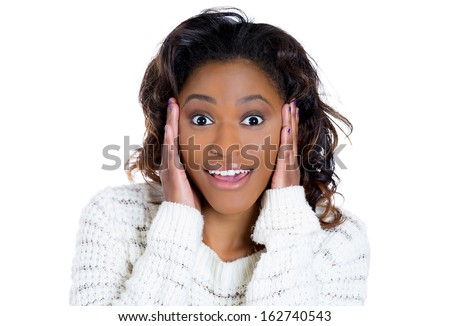 Closeup portrait of a happy cute young beautiful woman looking shocked and surprised in full disbelief hand on cheek, isolated on white background copy space. Positive human emotion facial expression  - stock photo