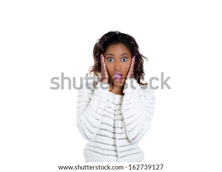 Closeup portrait of a happy cute young beautiful woman looking shocked surprised hand on cheek in full disbelief, isolated on white background copy space. Positive human emotions and facial expression - stock photo