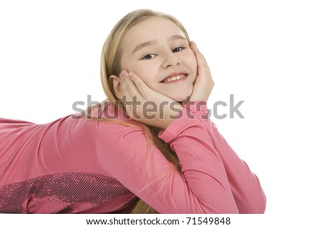 closeup portrait of a happy young girl - stock photo