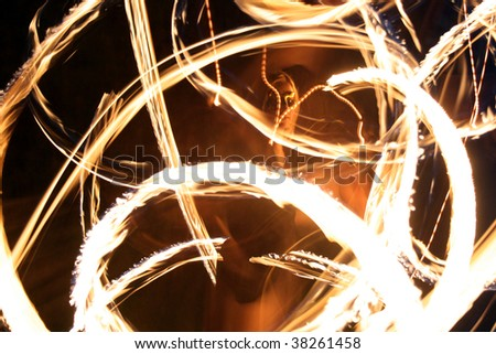 Closeup portrait of a pois performer outdoor - stock photo
