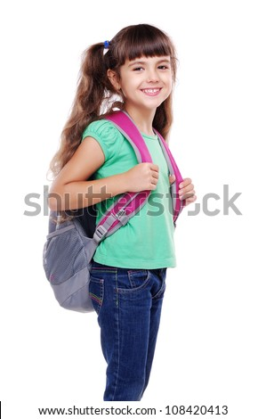 closeup portrait of a schoolgirl isolated on white - stock photo