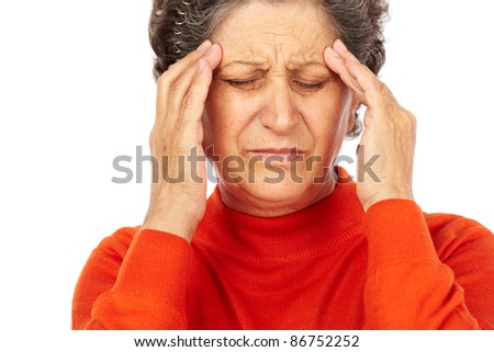 Closeup portrait of a senior woman with migraine isolated on white background - stock photo