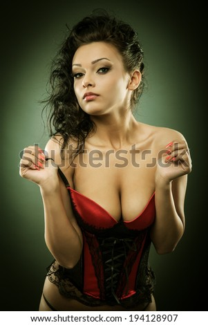 Closeup portrait of a sexy glamorous young woman - stock photo