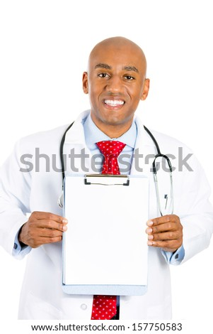 Closeup portrait of a smiling young male doctor holding a chart with blank copy space for advertisement, isolated on a white background. Doctors office visit, patient consent, health medical record. - stock photo