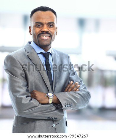 Closeup portrait of a successful African American business man - stock photo