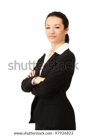 Closeup portrait of a successful businesswoman, isolated on white background - stock photo