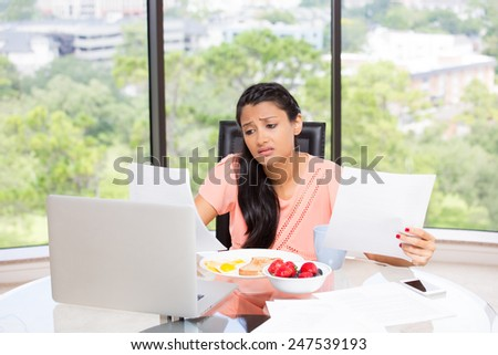 Closeup portrait of a tired, exhausted businesswoman,overwhelmed with work, hectic, busy corporate urban life, incomplete paperwork, stressed out. Isolated glass window background showing scenery. - stock photo