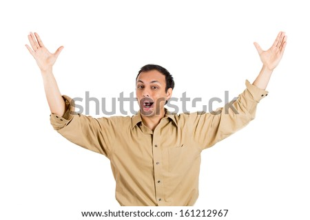 Closeup portrait of a winning successful young man, happy ecstatic celebrating being a winner, isolated on a white background. Positive human emotions and facial expressions. Life achievement concept - stock photo