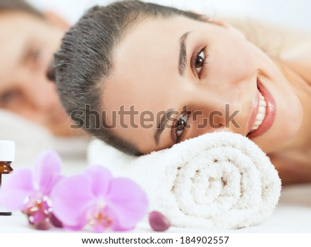 Closeup portrait of a woman on a beauty spa treatment. - stock photo