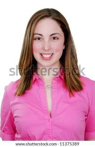 closeup portrait of a young adult woman - stock photo