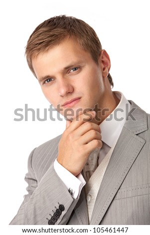 Closeup portrait of a young attractive man in an evening suit - stock photo