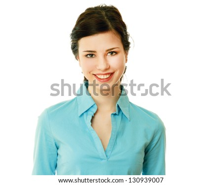 Closeup portrait of a young girl, isolated on white background - stock photo