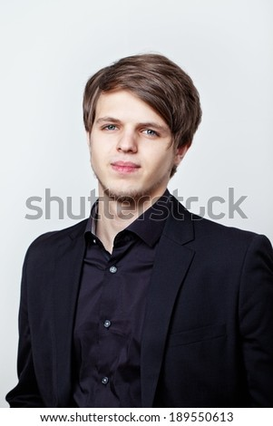 Closeup portrait of a young handsome man .  - stock photo