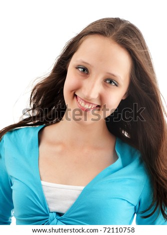 Closeup portrait of a young happy woman - stock photo
