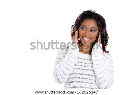 Closeup portrait of adorable charming,upbeat smiling happy young woman looking to side with hands on cheeks, isolated on white background copy space. Positive human emotions facial expressions - stock photo