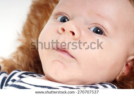 Closeup portrait of adorable child lying on fur - stock photo