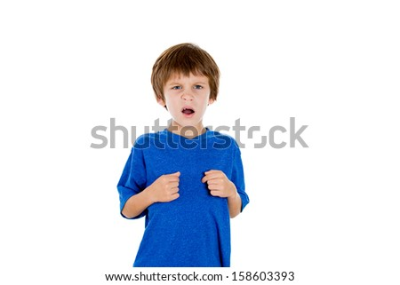 Closeup portrait of adorable kid pointing at himself angry and asking are you talking to me, isolated on white background with copy space - stock photo