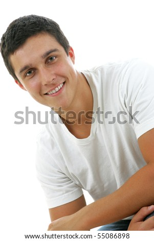 Closeup portrait of an attractive man with a great smile - stock photo