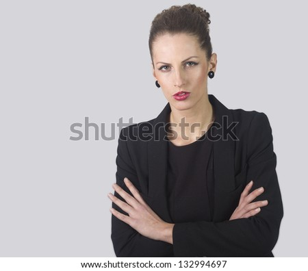 Closeup portrait of an attractive pensive businesswoman isolated on white background - stock photo