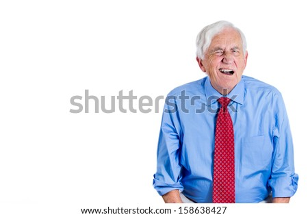 Closeup portrait of an elderly executive, grandfather, looking unhappy and annoyed, having trouble hearing his opponent, during unpleasant conversation, isolated on a white background . Geriatrics  - stock photo