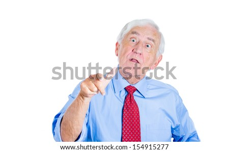 Closeup portrait of an unhappy,rude, senior man, executive, grandpa, having an argument with someone and trying to prove opponent is wrong , Isolated on white background. Conflict resolution. - stock photo