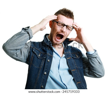 Closeup portrait of angry, frustrated man, isolated on white background with copy space  - stock photo