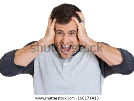 Closeup portrait of angry, frustrated man, screaming, pushed to limits, isolated on white background. Negative human face expressions, emotions, feelings, attitude, perception, conflict management - stock photo