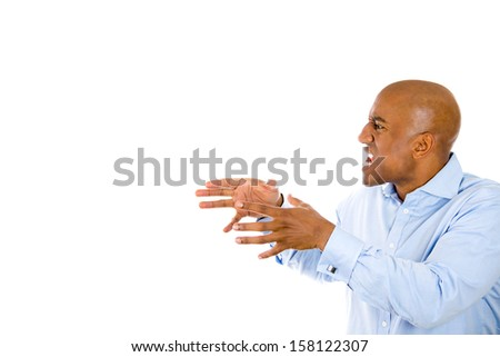 Closeup portrait of angry man screaming, with hands in air, about to strangle someone, isolated on white background with copy space. Negative human emotions and facial expression. Conflict resolution - stock photo