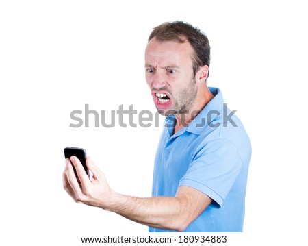 Closeup portrait of angry pissed off young man, guy, student, mad worker, upset employee, shouting while on phone, isolated on white background. Negative human emotions, facial expressions, feelings - stock photo