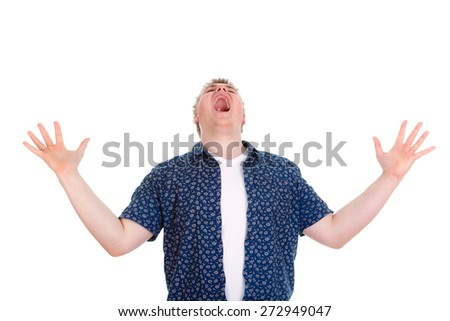 Closeup portrait of angry upset young man, worker, employee, business man hands in air, open mouth yelling isolated on white background. Negative emotions, facial expression reaction - stock photo