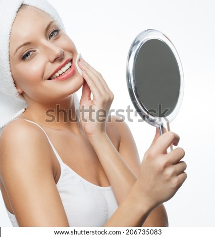 closeup portrait of attractive  caucasian smiling woman blond isolated on white - stock photo