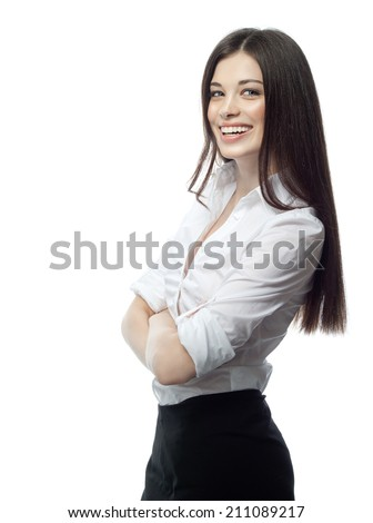closeup portrait of attractive  caucasian smiling woman brunette isolated on white studio shot lips toothy smile face hair head and shoulders looking at camera businesswoman - stock photo