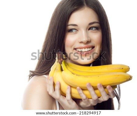 closeup portrait of attractive  caucasian smiling woman brunette isolated on white studio shot lips toothy smile face hair head and shoulders  tooth bananas - stock photo