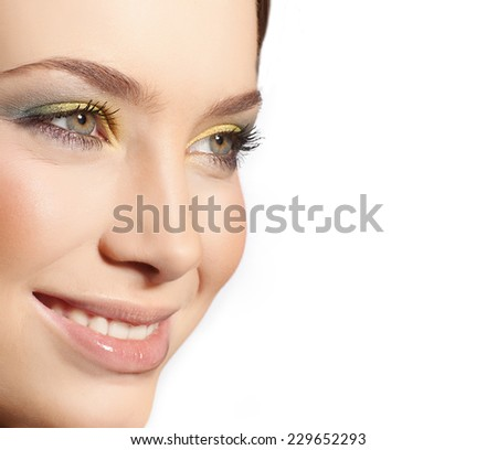 closeup portrait of attractive  caucasian smiling woman brunette isolated on white studio shot lips toothy smile face closeup makeup head  tooth eyes - stock photo