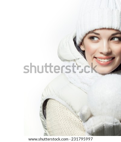 closeup portrait of attractive  caucasian smiling woman brunette isolated on white studio shot lips toothy smile face hair head and shoulders tooth winter christmas - stock photo