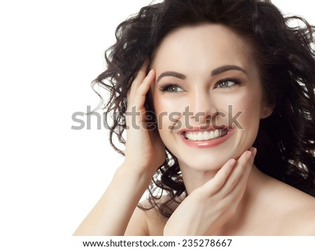 closeup portrait of attractive  caucasian smiling woman brunette isolated on white studio shot lips toothy smile face hair head and shoulders looking up tooth - stock photo