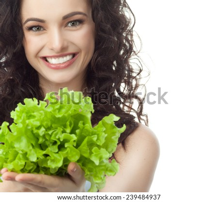 closeup portrait of attractive  caucasian smiling woman brunette isolated on white studio shot lips toothy smile face hair head and shoulders looking at camera tooth rsting salat - stock photo