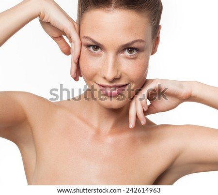 closeup portrait of attractive  caucasian smiling woman brunette isolated on white studio shot lips toothy smile face  head and shoulders looking at camera armpit axillary space - stock photo