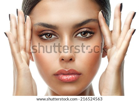 closeup portrait of attractive  caucasian woman brunette isolated on white studio shot lips face  head and shoulders looking at camera eyes hands - stock photo