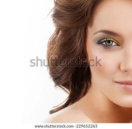 closeup portrait of attractive  caucasian  woman brunette isolated on white studio shot lips  face hair head and shoulders looking at camera skin makeup - stock photo