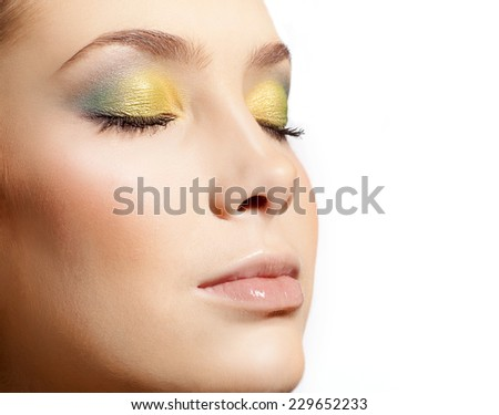 closeup portrait of attractive  caucasian  woman  isolated on white studio shot lips  face closeup makeup  head eyes closed skin - stock photo