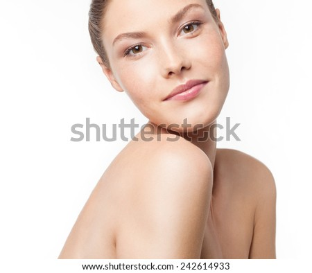 closeup portrait of attractive young caucasian smiling woman brunette isolated on white studio shot lips face head and shoulders looking at camera  - stock photo