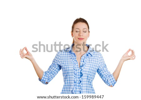 Closeup portrait of attractive, young woman in meditation zen mode, isolated on white background. Stress relieve techniques concept. Positive human emotions and facial expressions - stock photo
