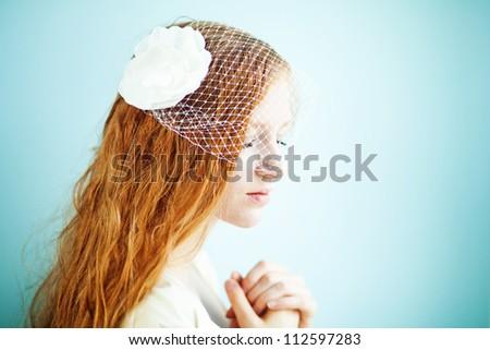 closeup portrait of beautiful bride - soft focus, focus on eye - stock photo