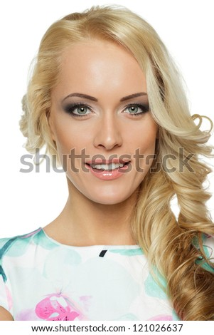 Closeup portrait of beautiful female - stock photo