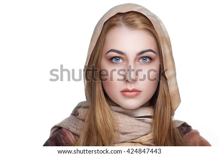 Closeup portrait of beautiful girl woman lady combed hair styling Luxury professional makeup. Bright shiny lipstick. Body covered by golden scarf shoulders. New Horizontal photo white light background - stock photo